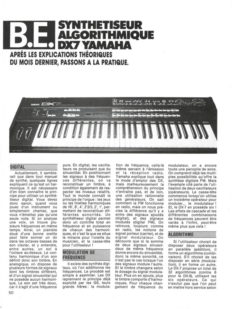 Page 1 d'un banc d'essai du DX7 dans Guitare & Claviers, 1983.